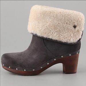 Ugg Lynnea Suede Leather Shearling Clog Sz 8